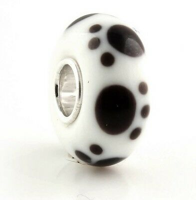 Sterling Silver Core Murano Glass Charm White & Black Puppy Dog Paws Bead 88803