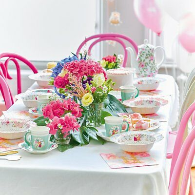 Vintage floral scrumptious paper party tableware plates cups napkins cake stand