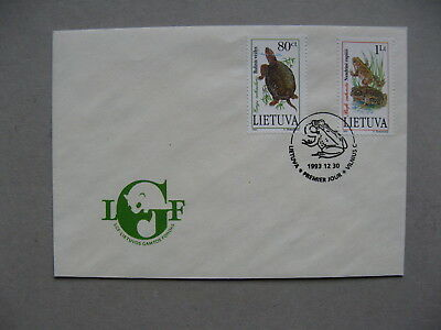 LITHUANIA, cover FDC 1993, reptile turtlr toat