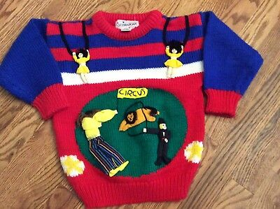 Vintage Novelty Big Top Circus 3D Knit sweater boy girl size 4 GREATEST SHOWMAN
