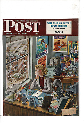 Feb 1949 Saturday Evening Post Women At Work Dreaming Of Vacation Ad Print C744