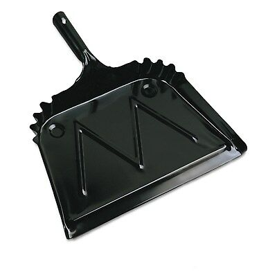 Boardwalk Metal Dust Pan 12 inches Wide 2 inches Handle Black 12/Carton