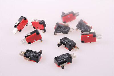 10Pcs SPDT Momentary Limit Micro Switch V-155-1C25 Hinge Roller Lever AC/DC 15A