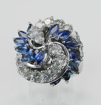 2.85 ct Sapphire and Diamond Cocktail Ring Vintage Antique 18K White Gold 7.25