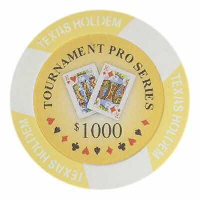Tournament Pro Series 11.5g Poker Chips, $1,000 Clay Composite, 50-pack