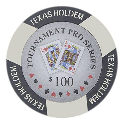 Tournament Pro Series 11.5g Poker Chips, $100 Clay Composite, 50-pack