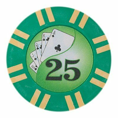 2 Stripe Twist 8g Poker Chips, $25 Clay Composite, 50-pack