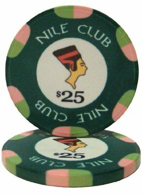 Nile Club 10g Ceramic Poker Chips, $25 Casino-Grade Ceramic, 50-pack