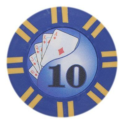 2 Stripe Twist 8g Poker Chips, $10 Clay Composite, 50-pack