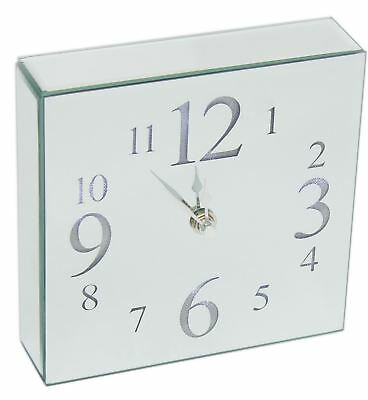 Contemporary LED Light Up Square Mirrored Wall Clock 18cm
