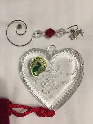 Waterford Crystal Heart 2008 Our First Christmas Ornament Enhancer Pouch 146645