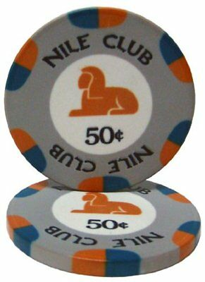 Nile Club 10g Ceramic Poker Chips, $0.50 Casino-Grade Ceramic, 50-pack