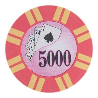 2 Stripe Twist 8g Poker Chips, $5,000 Clay Composite, 50-pack