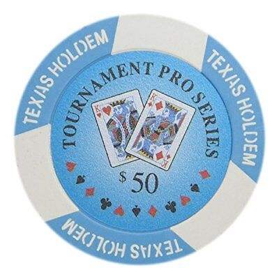 Tournament Pro Series 11.5g Poker Chips, $50 Clay Composite, 50-pack