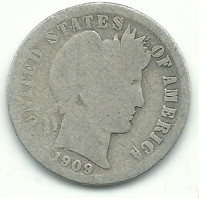 Vintage Good Condition 1909 O Barber Silver Dime New Orleans Minted Coin-Nov477