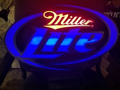 MILLER LITE LED BAR SIGN MAN CAVE GARAGE LIGHT ALSO DIMS BY SWITCH look