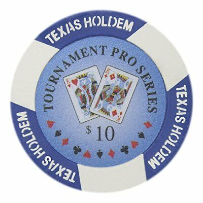 Tournament Pro Series 11.5g Poker Chips, $10 Clay Composite, 50-pack