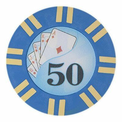 2 Stripe Twist 8g Poker Chips, $50 Clay Composite, 50-pack