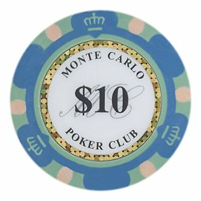Monte Carlo Premium 14g Poker Chips, $10 Clay Composite, 50-pack