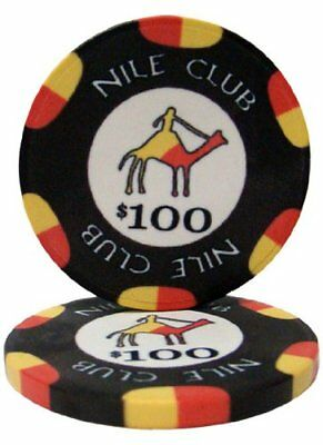Nile Club 10g Ceramic Poker Chips, $100 Casino-Grade Ceramic, 50-pack