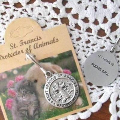 St. Francis Pet Medal Tag Charm 1 inch size Pewter Cat Dog Pet