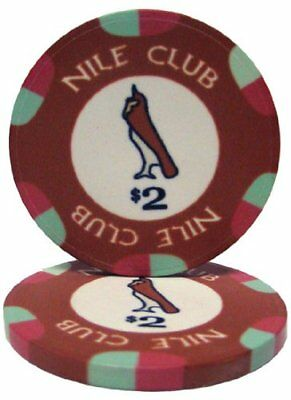 Nile Club 10g Ceramic Poker Chips, $2 Casino-Grade Ceramic, 50-pack
