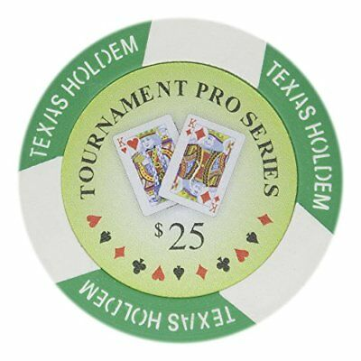 Tournament Pro Series 11.5g Poker Chips, $25 Clay Composite, 50-pack