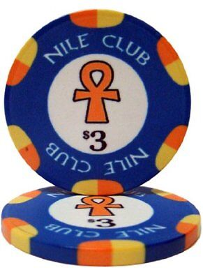 Nile Club 10g Ceramic Poker Chips, $3 Casino-Grade Ceramic, 50-pack