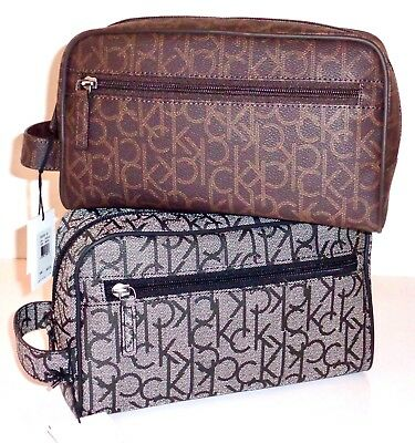 861018c9d5 Calvin Klein Men s Travel Toiletry Shaving Kit Case Dopp Bag brown grey NWT   65
