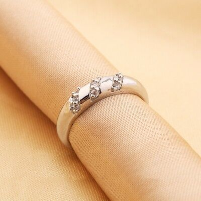 Classic Design Charms Sapphire Crystal Silver Tone Wedding Finger Band Rings