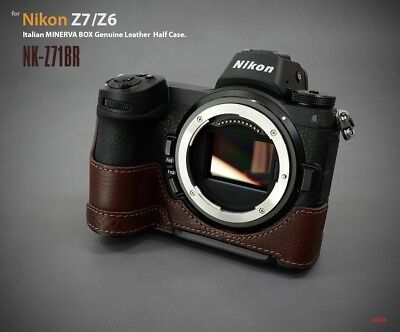 LIM'S Genuine Leather Half Case Dovetail Plate for Nikon Z7 Z6 Brown
