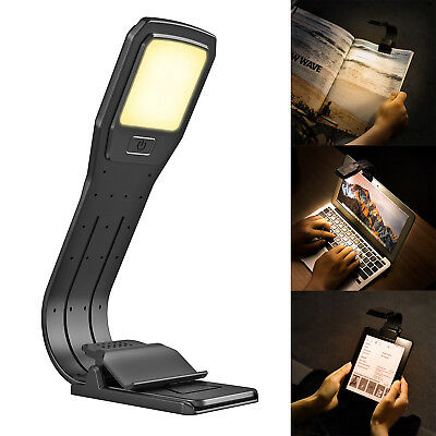 USB Rechargeable LED Book Reading Clip Lamp 4 Level Dimming 2800K Portable Light
