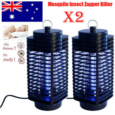 2X Electric Insect Zapper Mosquito Fly Bug Killer Control Trap Blue Lamp Light