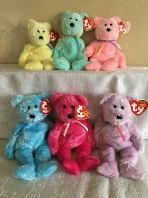 Lovely Soft Lot 6 Ty Beanie Babies Sherbet Bears Pastel Yellow Blue Pink Green