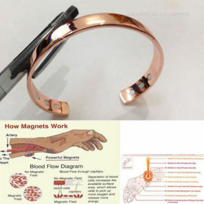 Magnetic Copper Bracelet Healing Pain Relief Bio Therapy Arthritis Bangle Cuff F