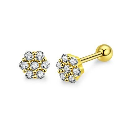 14k gold gp 925 sterling silver stud cz flower Screw back baby kids earrings 5mm