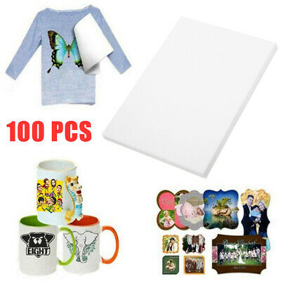 100* A4 Sublimation Paper Iron On Heat Press Transfer Paper Inkjet Print T-shirt