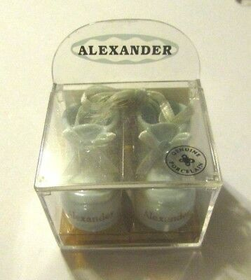 NIB Alexander Genuine Porcelain Pair Miniature Blue Baby Shoes Monogram RUSS