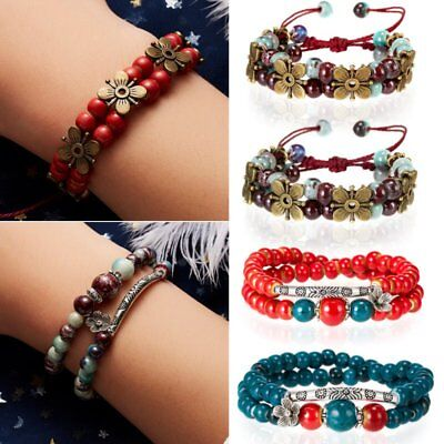 Handmade Flower Couples Lovers Women Beads Bracelets Elastic Bangles Jewelry New