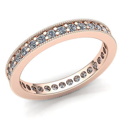 Natural 1 Ct Round Cut Diamond Ladies Promise Stackable Eternity Band 14K Gold