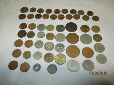 LOT of 50+ ASSORTED FORIEGN COINS