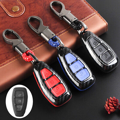 Carbon Fiber Remote Key Case Cover Shell For Ford Focus Fiesta Kuga C-Max Galaxy