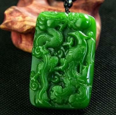 Chinese natural green jade hand-carved  dragon and phoenix pendant