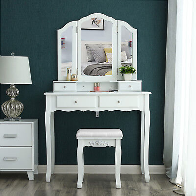 Dressing Table Set with 1 Stool and 3 Mirrors and 4 Drawers Make-up Table RDT07W