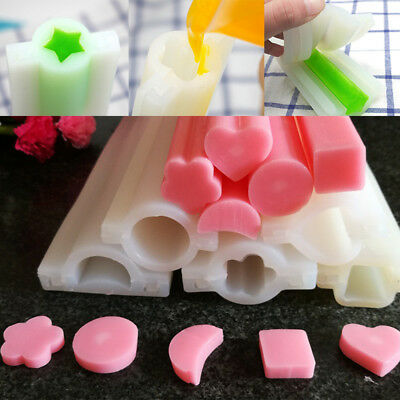 DIY Handmade Silicone Soap Tube Shape Mould Plum Blossom Five-pointed Star Heart