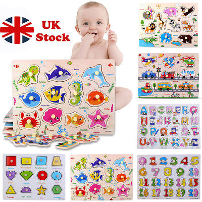 Kids Toddler Jigsaw Puzzle Baby Developmental Wooden Game Toy Funny Education UK