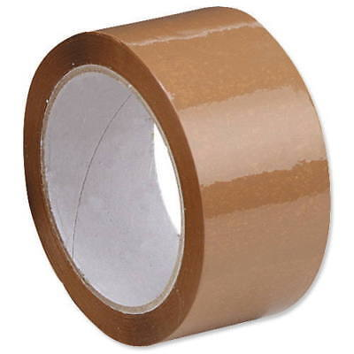 12 x ROLLS OF BROWN PACKING PARCEL PACKAGING REMOVAL TAPE 48mm x 66M