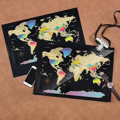 World Map Scratch Off Travel Scratch for Map Home Decor Wall Stickers Gifts