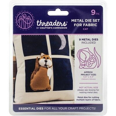 Crafter's Companion Threaders Metal Fabric Nesting Dies-cat Project Size