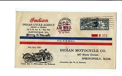 Indian Cycle Agency 1928 Motorcycle WISCONSIN Meisel Signature Air Mail !!